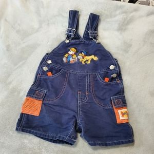 Construction Mickey Mouse & Pluto Short Overalls